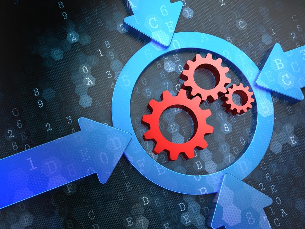 Cogwheel Gear Mechanism Icon Inside the Target on Digital Background. Business Concept.-1